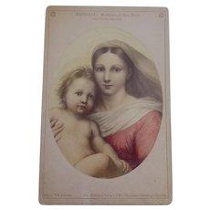 Antique German c1865 Cabinet Card Signed F & O Brockmann of Raphael's Madonna di San Sisto