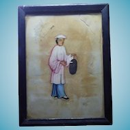 Framed Older Painting of an Asian Man or Woman Carrying Drum