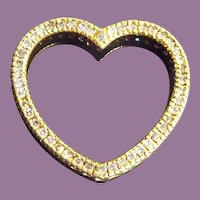 Large Gold Over Sterling Silver Floating Heart Pendant with CZs - Signed JJT