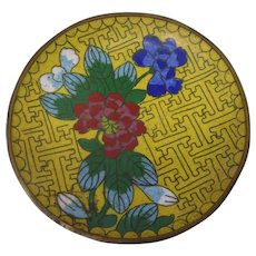 Vintage Chinese Cloisonne Enamel On Brass Small Pin Dish Yellow Blue Green Red White