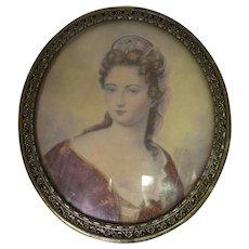 Vintage Filigree Oval Print Royal Woman Wearing Pink Tiara and Red Robe