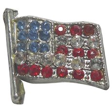 Older Vintage American Flag Pin - Pot Metal & Rhinestones