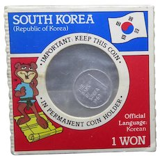 Vintage Collectible Coin In Original Packaging- 1969 1 Won South Korea