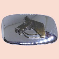 Vintage Buckle With Mirror Finish - Silver Color & Metal Horse Head - Made in USA