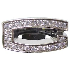 Sterling Silver & Crystal Initial G Ring  Size 7.5