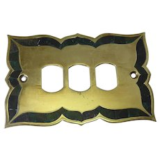 Signed Los Castillo & Numbered Electric Outlet Wall Plate Brass & Inlaid Azur Malachite Stone