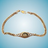 Ornate 925S Gold Over Sterling Silver Initial ID Bracelet