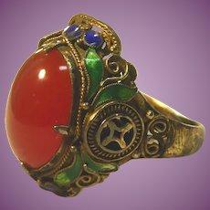 Vintage Chinese Export Gilt Silver Enamel Carnelian Ring - Gorgeous!