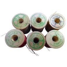 Vintage Wooden Spool Thread Lot - Ivory Brand Thread