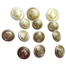 Vintage Brass Heraldry Buttons With Crest of Crown Over A Shield With Fronds & Plaid Stripes