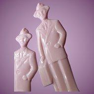 2 Vintage Pink Fuller Brush Man Plastic Letter Openers Door To Door Sales American History