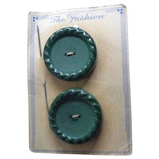 A Pair of Vintage Big Green Buttons That Are 40.5mm Across - on Original Card