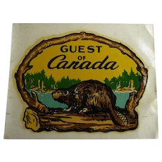 Vintage Hya Lac Automobile Decal Sticker for Guest Of Canada With Beaver On Log