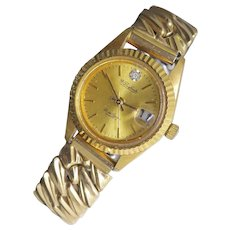 Vintage Lucien Piccard Dufante Diamond Wristwatch With  Bubble Date & Bradfield Gold Filled Band