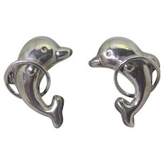 Vintage Mexican Sterling Silver Bottle Nose Dolphins Jumping Through Hoops Earrings - 925