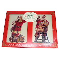 Collectible 1994 Double Pack of Coca Cola Advertising Playing Cards With Santa Claus