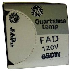 Photography / Projection Lamp Bulb - GE Quartzline FAD 120V 650W In Original Box