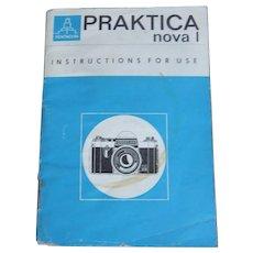 Vintage Original Praktica Nova 1 35mm Camera Instruction Booklet In English