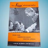 1940s Leica Advertising Brochure Four Fine American Made Lenses Catalog Booklet