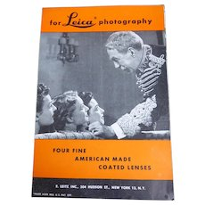 1940s Leica Advertising Brochure Four Fine American Made Lenses Catalog Booklet