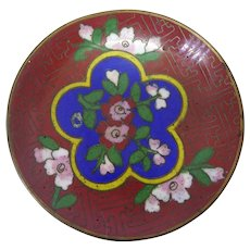 Vintage Chinese Cloisonne Enamel On Brass Small Pin Dish Blue Red Yellow Pink Green