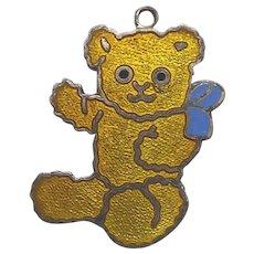 Adorable Signed Sterling Silver & Enamel Teddy Bear Pendant or Charm S Arrow