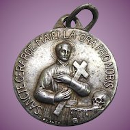 "Vintage Saint Gerarde Maiella Religious Medal ""The Mother's Saint"" -  Early Aluminum Medal"