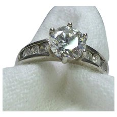 Gorgeous Sterling Silver Travel Ring With Faux Diamonds