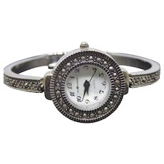 Stunning Marcasite Bangle Bracelet Watch Signed Sag Harbor