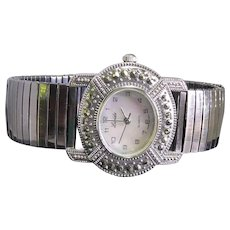 Gorgeous Shiny Lucida Wristwatch - Large Pearly Face Reflective Band Fancy Bezel