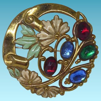 Older Vintage Openwork Brooch With Colored Glass Stones and Enamel Paint