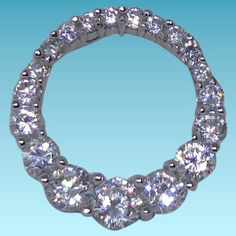 Lovely Sterling Silver & Crystal Floating Pendant