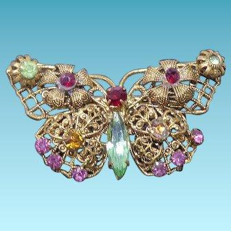 Fancy Filigree Rhinestone Jeweled Butterfly Brooch - Older Vintage Costume Jewelry!