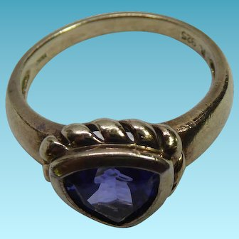 Lovely Gold Over Sterling Silver Ring With A Blue Triangle Shaped Crystal - Signed R