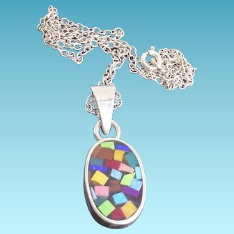 Sterling Silver Mosaic Stained Glass Look Pendant Necklace On Sterling Chain