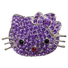 90ba89663 Retro Hello Kitty Brooch Decorated With Purple Crystals