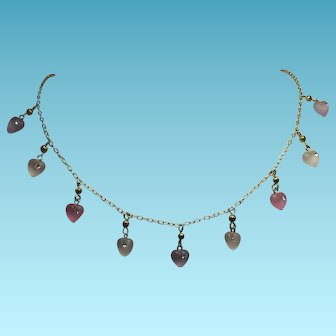 Sweet Vintage Necklace With Satin Glass, Crystal Decorated Pastel Hearts