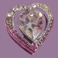 Sweet Vintage! Older Foil Backed Rhinestone Heart Slide Pendant
