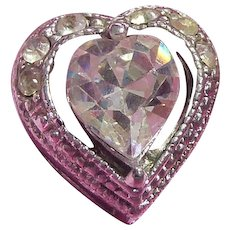 Sweet Vintage! Older Foil Backed Rhinestone Heart Slide Pendant
