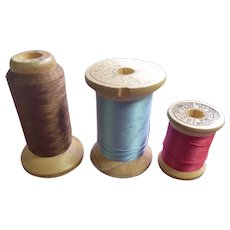 Vintage Corticelli Wooden Thread Spool Collection - Threads Partially Used
