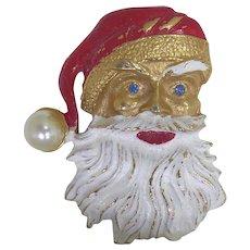 Cute Vintage Santa Claus Brooch With Enamel Paint