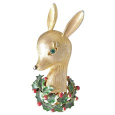 Adorable Vintage Christmas Brooch - Deer in Holly Signed Gerrys