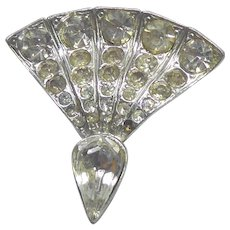 Older Vintage Rhinestone & Pot Metal Fan Shaped Pin Brooch