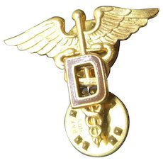 Vintage Early US Military Dental Corp Insignia Brown Enamel D on Caduceus Meyer