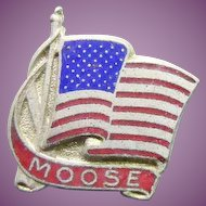 Vintage Moose Lapel or Tie Pin With American Flag Blue Red Enamel Signed Morgans