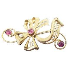 Vintage 1940s Designer Signed Harry Iskin 1/20 12K GF Brooch Watch Pin - Fancy Ribbon Design With Pink Crystals
