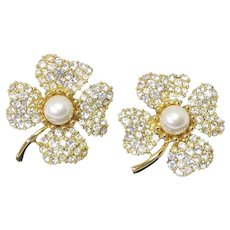 Beautiful Signed Trifari Rhinestone & Faux Pearl Shamrock 4 Leaf Clover Earrings - Clip On