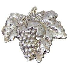 Lovely Vintage Hand Made Sterling Silver Grape & Grape Leaf Brooch