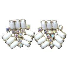 Retro Vintage Milk Glass & Aurora Borealis Crystal Earrings Clip Ons Circa 1960