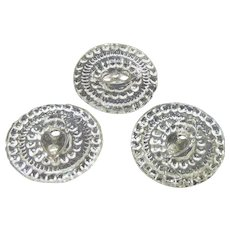 3 Vintage Glass or Crystal Buttons For Sewing
